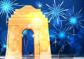 India Night Gate With Fireworks Illustration - Free vector #406579