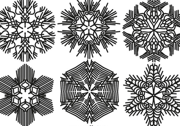 Vector Set Of 6 Snowflakes - Free vector #406599