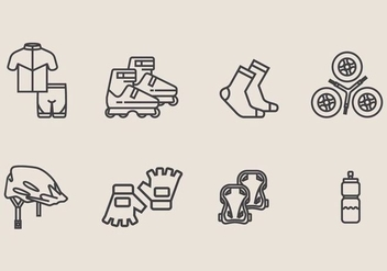 Roller Blade Icon Set - vector gratuit #406799