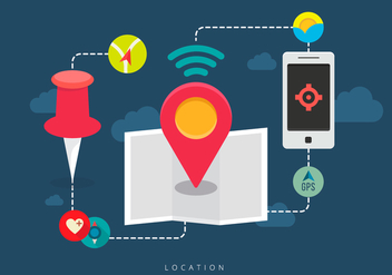 Combine Mobile Location - vector gratuit #407079