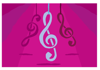 Purple Hanging Violin Key - vector gratuit #407159