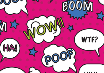 Comic Bubbles Pattern Vector - Free vector #407229