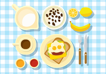 Breakfast Table Set Free Vector - vector gratuit #407429