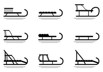 Sleds, toboggan vector silhouette - Free vector #407499