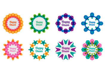 Free Onam Decorated Greeting Vector - vector gratuit #407539