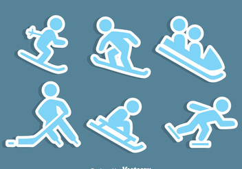 Winter Sports Icons Vector - Free vector #407599