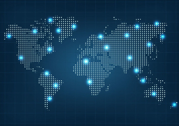 Dotted World Map Vector - Free vector #407739