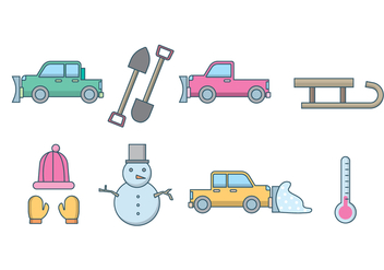 Free Snow Plow and Winter Vector - бесплатный vector #407789