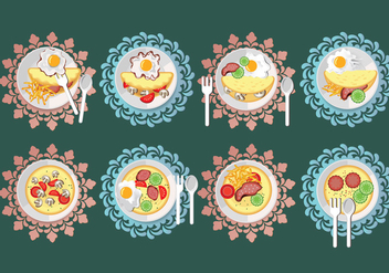 Omelet Vector Set Illustration - vector gratuit #407879