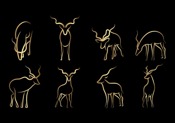 Gold Kudu Line Art Vector - бесплатный vector #408169