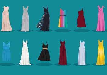 Collection Of Bridesmaid Dress - бесплатный vector #408219