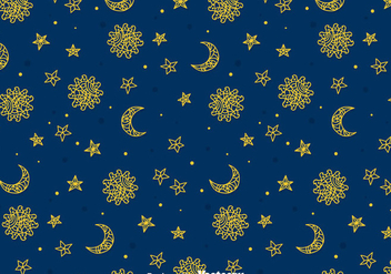 Sun, Moon And Sun Gipsy Seamless Pattern - vector #408319 gratis