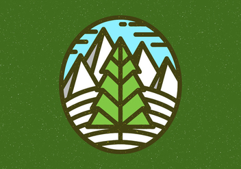 Winter Landscape Badge - Free vector #408329
