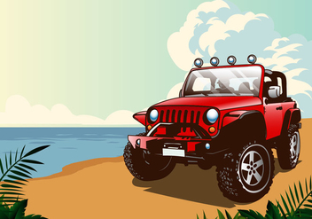Summer Jeep - Free vector #408379