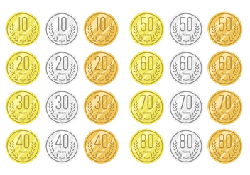 Anniversary on gold silver and bronze - бесплатный vector #408389