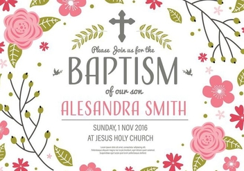 Free Invitation Baptism Template Vector - vector gratuit #408739