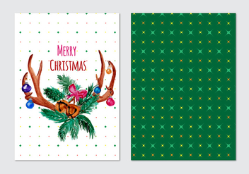Card With Christmas Free Vector Horn Wreath - Free vector #408769