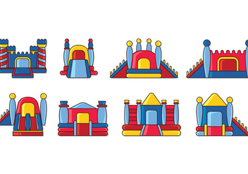 Set Of Bounce House Icons - Free vector #408919