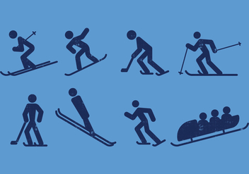 Ski, Skate, Hockey, Snowboarding and Sledding Pictogram Icons - Kostenloses vector #408979