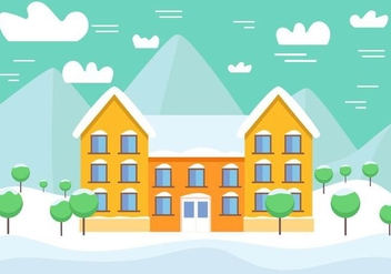 Free Vector Winter Landscape with Building - Free vector #409029