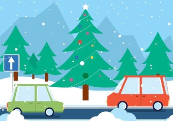 Free Christmas Vector Road Landscape - Free vector #409059