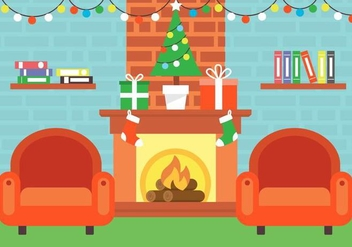 Free Christmas Vector Fireplace - Free vector #409079