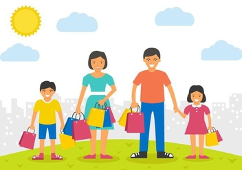 Free Happy Family Shopping Vector Illustration - vector gratuit #409159