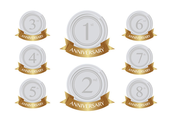 Silver anniversary patches - vector gratuit #409299