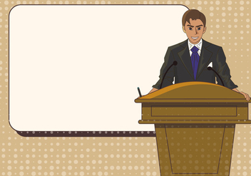 Man Speech On Lectern Template Illustration - Free vector #409309