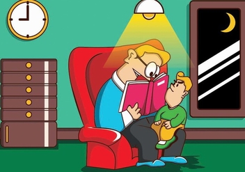 Illustration Of Father And Son While Read Story - vector gratuit #409319