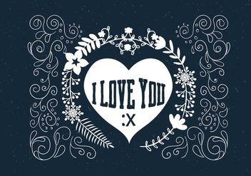 Hand Drawn Scrollwork Love Vector - vector gratuit #409339