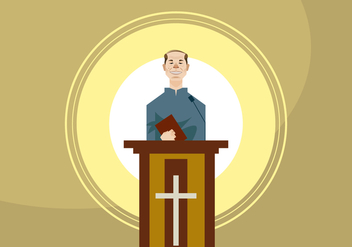 Speaking Pastor in the Lectern Vector - Kostenloses vector #409969