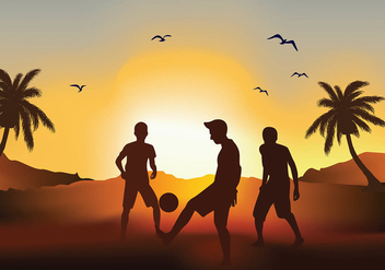 Soccer Beach Sunset Silhouette Free Vector - бесплатный vector #410209
