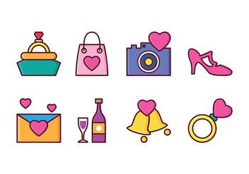 Free Wedding Icon Set - vector gratuit #410219