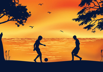 Soccer Beach Sunset Free Vector - бесплатный vector #410309