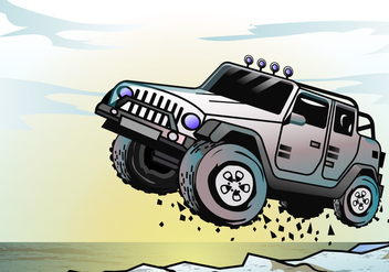 Adventure Jeep Jumping - vector gratuit #410529