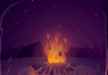 Campfire for Story Telling Background Free Vector - Kostenloses vector #410649