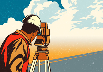 Engineer Surveyor Measures The Road - vector gratuit #410669
