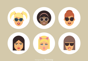 Free Cartoon Female Vector Avatars - vector gratuit #410749