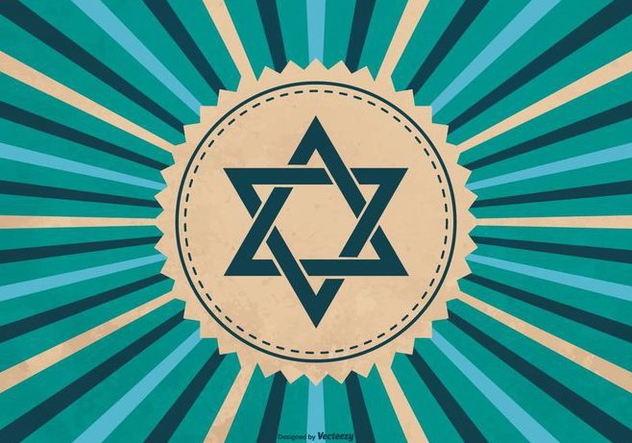 Hanukkah Symbol on Sunburst Background - Kostenloses vector #410789
