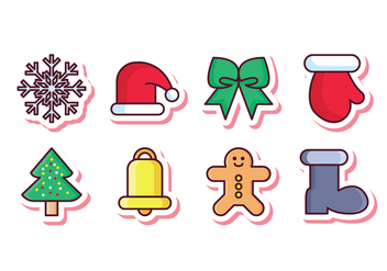 Free Christmas Sticker Icon Set - Free vector #410939
