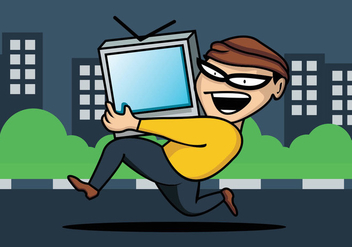 Thief Stealing Television - Free vector #411149