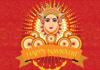 Maa Durga face design on retro background for Hindu Festival Shubh Navratri - vector gratuit #411169