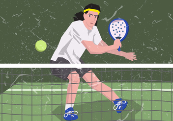 Man Playing Padel - Free vector #411179