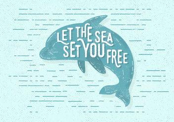 Free Vintage Dolphin Vector Illustration - Free vector #411279