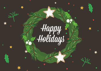 Free Happy Holidays Vector Wreath - vector gratuit #411289