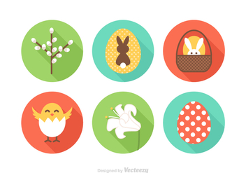 Free Flat Easter Vector Icons - бесплатный vector #411439