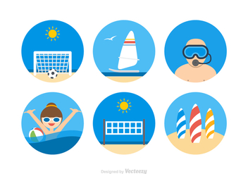 Free Beach Activities Vector Icons - Free vector #411579