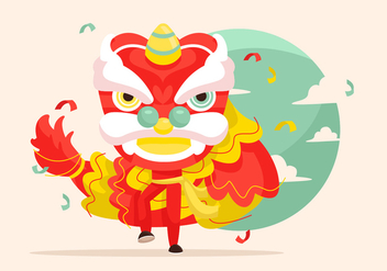 Lion Dance Vector Illustration - Free vector #411689