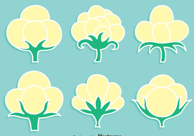 Cotton Flowers Vevtor Set - vector gratuit #411779